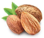 Almonds with leaves isolated. Almonds with leaves isolated on white background. Image with maximum sharpness. Clipping path royalty free stock image