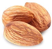 Almonds with leaves isolated. royalty free stock photos