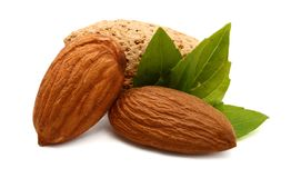 Almonds with leaves. Isolated. Snack, kernel Royalty Free Stock Photo