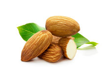 Almonds with leaves isolated on white background stock photos