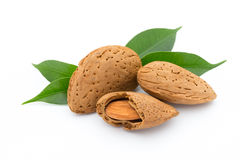 Almonds with leaves isolated on white background. Stock Photos