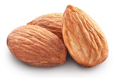 Almonds with leaves isolated. Almonds isolated on white background. Image with maximum sharpness. Clipping path stock photography