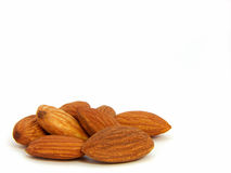 Almonds on left Royalty Free Stock Images