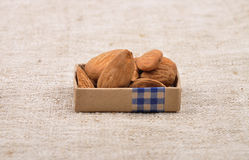 Almonds on linen. Colorful and crisp image of almonds on linen Royalty Free Stock Photos