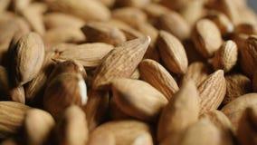 Almonds macro view detail. 4K stock video footage