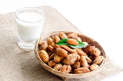 Almonds milk with almonds. Stock Photos