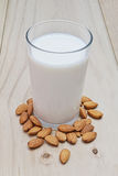Almonds and milk Stock Image