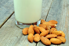 Almonds and milk Stock Photos