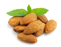 Almonds with mint Stock Photos