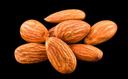Almonds nut. Isolated on a black background Royalty Free Stock Photo