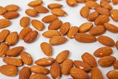 Almonds with nuts stock photos
