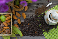 Almonds, nuts and coffee. All togheter stock image
