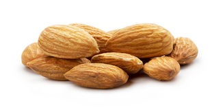 Almonds nuts isolated on the white background Royalty Free Stock Photos