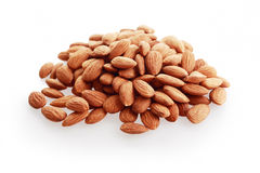 Almonds nuts. Isolated on white background royalty free stock images