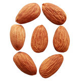 Almonds nuts. Isolated on white background Royalty Free Stock Photos