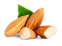 Almonds nuts isolated on white. Background Royalty Free Stock Photos