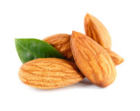 Almonds nuts isolated on white Royalty Free Stock Photo