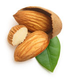 Almonds nuts with leaf isolated Royalty Free Stock Photo