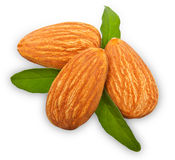 Almonds nuts with leaves Royalty Free Stock Photos
