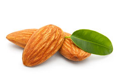 Almonds nuts with leaves Royalty Free Stock Photography