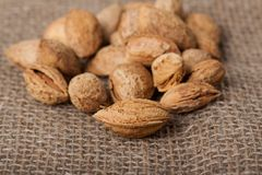 Almonds nuts on sackcloth Stock Photography