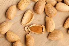 Almonds in nutshell Royalty Free Stock Photography