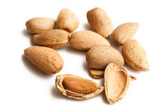 Almonds in nutshell. Photo shot of almonds in nutshell Royalty Free Stock Photos