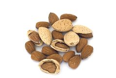 Almonds with nutshells Stock Photo