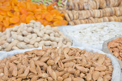 Almonds and other dried fruits and nuts Stock Images
