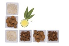 Almonds over white background. Royalty Free Stock Photos