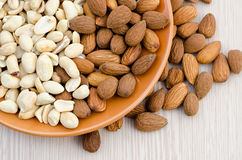 Almonds and peanut Royalty Free Stock Photography