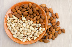 Almonds and peanut Royalty Free Stock Photo