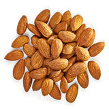 Almonds. Pile from top on white background Royalty Free Stock Images