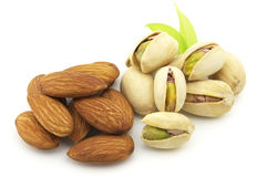 Almonds and pistachio Royalty Free Stock Photography