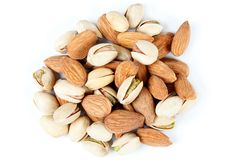 Almonds and pistachios 2 Royalty Free Stock Photos