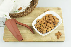 Almonds in plate Royalty Free Stock Photography
