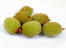 Almonds in pods. Royalty Free Stock Image