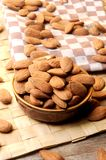 Almonds on pot kitchen  table Stock Photography