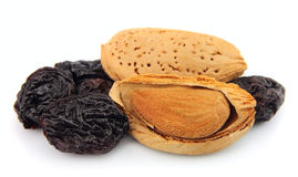 Almonds and raisin Royalty Free Stock Photo