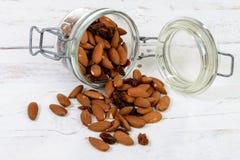 Almonds with raisins dry Royalty Free Stock Photos