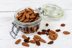 Almonds with raisins dry Stock Photography