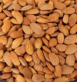 Almonds. Raw fresh organic almond nuts. Almond background. Nuts background. Almond texture and background Stock Images