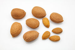 Almonds with rind Royalty Free Stock Images