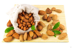Almonds in the sack on the mat Stock Image