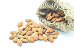 Almonds in sack  on white background Stock Photography