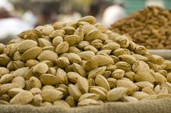 Almonds in sacs at the market Royalty Free Stock Photo