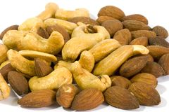 Almonds with salt Stock Photo