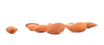 Almonds Salted on white background. Stock Photos