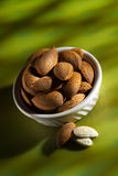 Almonds in shell 2. A cup of almonds in shell with two wihite almonds Stock Photos