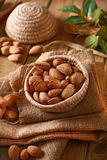 Almonds in shell in the basket. Closeup Royalty Free Stock Photo